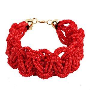 Red Sea Bead Woven Bracelet